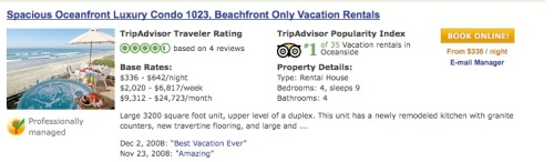 Tripadvisor vacation rental review screenshot